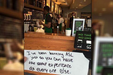 Starbucks barista learns sign language for deaf customer