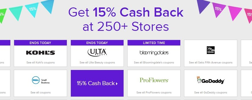 How to get 15% cash back at 250 online stores this week