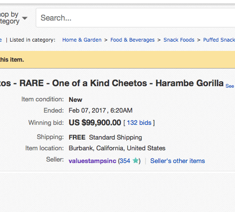 Why did a gorilla-shaped Cheeto just sell on eBay for $99,900??