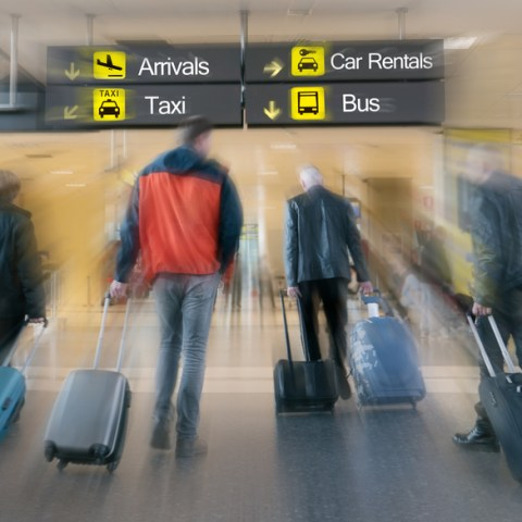 travelers in an airport