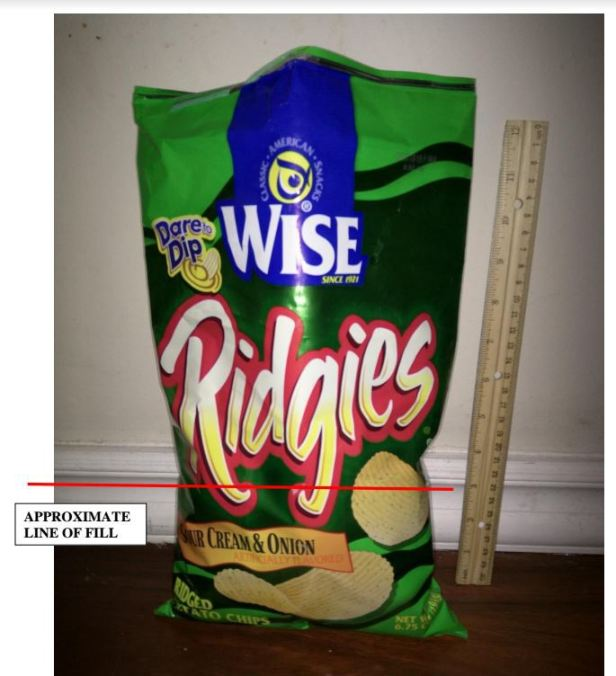 Wise potato chips with ruler