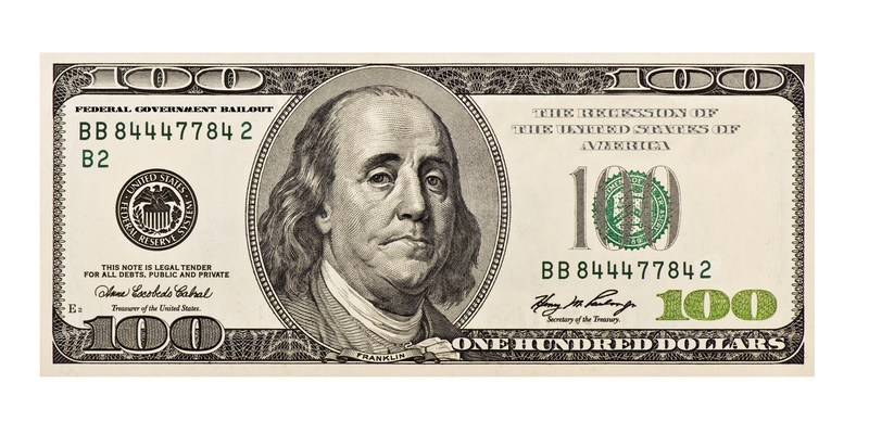 A modified 100 dollar bill showing recession wording and a worried Ben Franklin