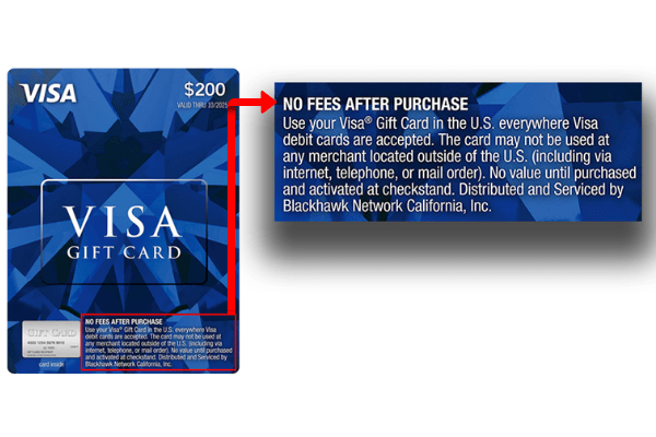 Look for Visa gift cards with no fees after purchase