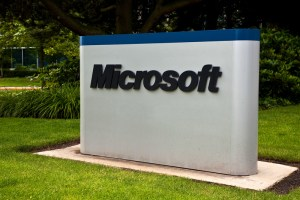 Microsoft logo outside corporate building - How to reach a real person at Apple, Google, Facebook and more