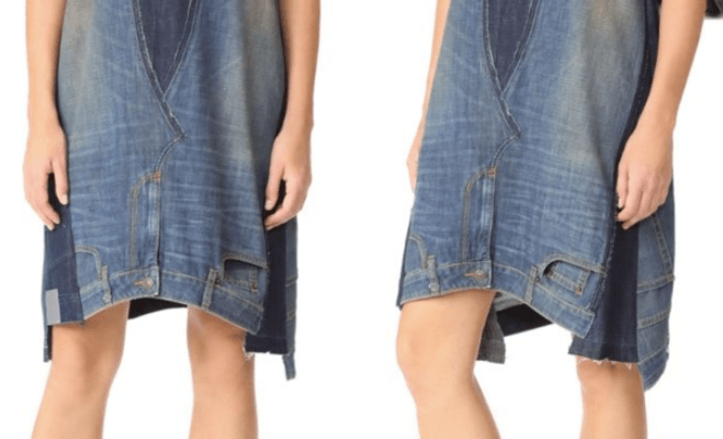 4d460c7e50 Worst denim trend yet  This  445 dress is made from oversized upside-down  jeans