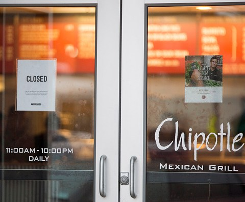 Chipotle restaurant with closed sign