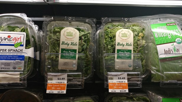 Whole Foods baby kale and baby lettuce low price