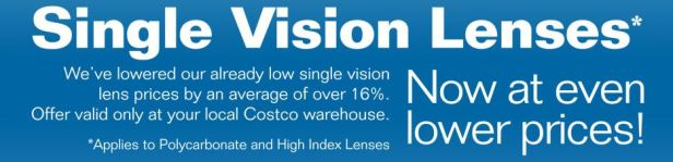 Costco Optical single vision lenses prices