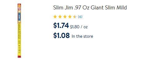 Walmart Slim Jim pricing