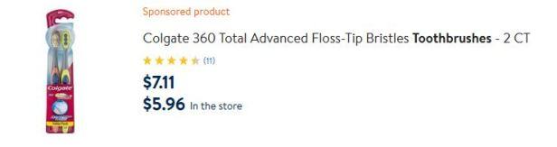 Walmart Colgate toothbrush pricing