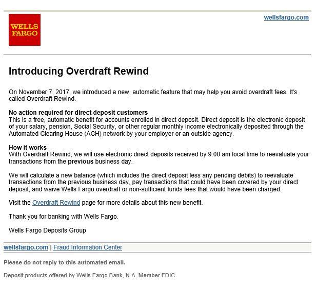 Wells Fargo Overdraft Rewind e-mail