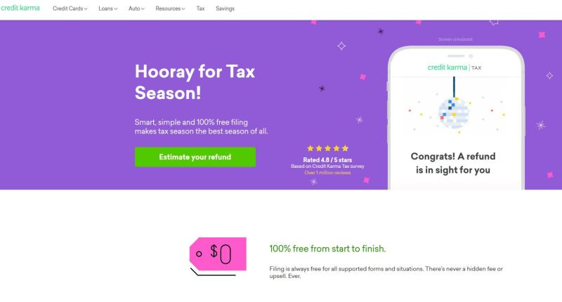 Credit Karma offers 100% free tax filing for both state and federal returns regardless of your income.