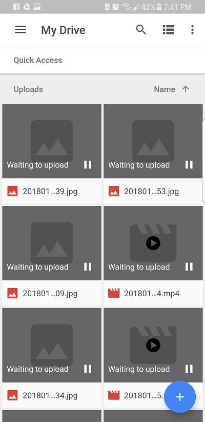 """Google Drive """"Waiting to upload"""" error with photos"""