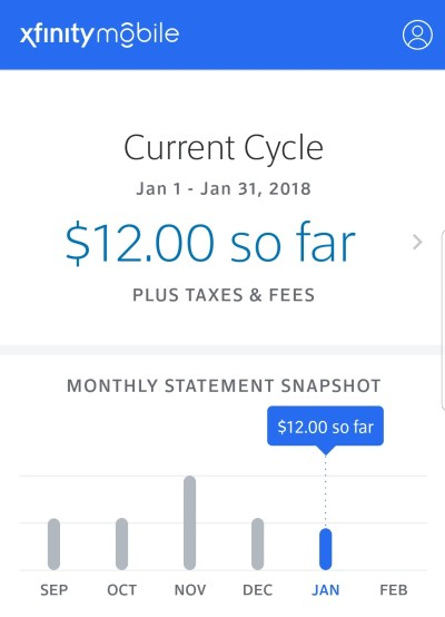 My Xfinity Mobile charges