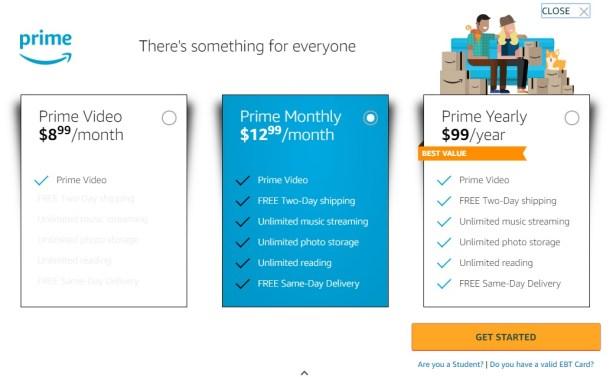 New Amazon Prime pricing