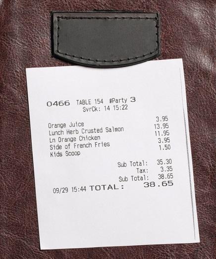Sample restaurant bill