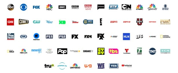 YouTube TV channel lineup