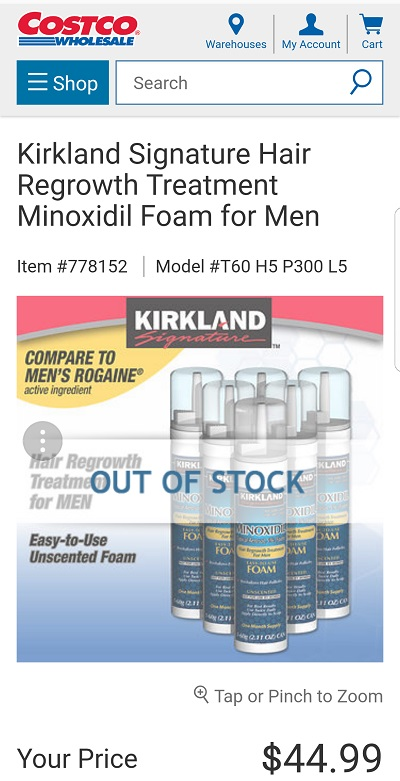Costco's minoxidil