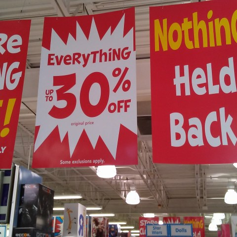 toys r us liquidation sale sign