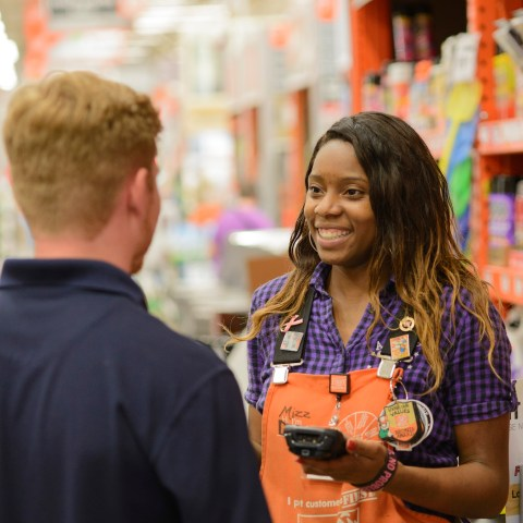 Home Depot employee helping customer