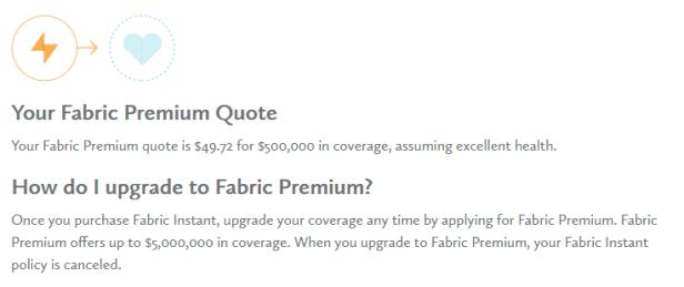 fabric premium quote