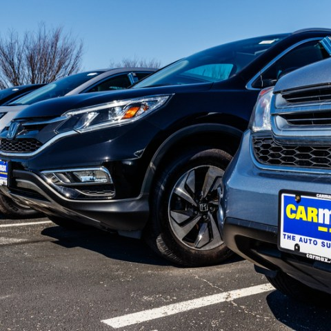 used vehicles parked at carmax lot