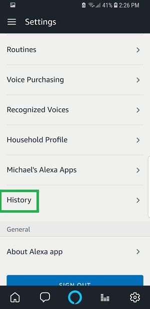 """Scroll down and select """"History"""""""