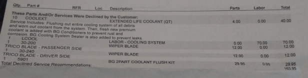 wiper blade replacement quote