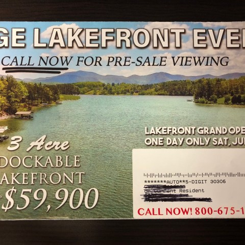 Lakefront property mailer