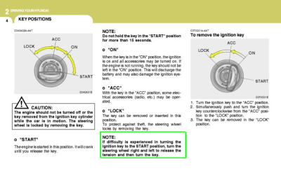 key ignition owner's manual