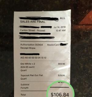 Paint receipt