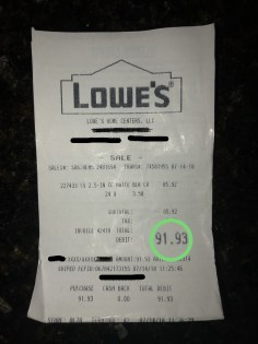 hardware drawer pull knob receipt