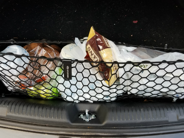 Groceries carefully loaded into my trunk