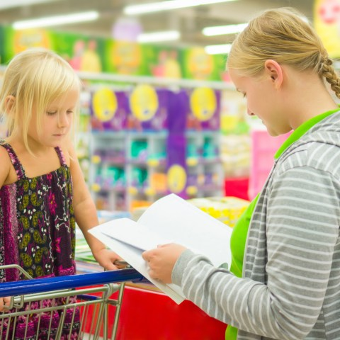 Mom shopping with kid