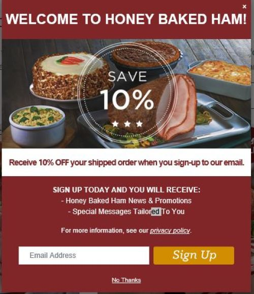 honey baked ham 10% off shipped orders