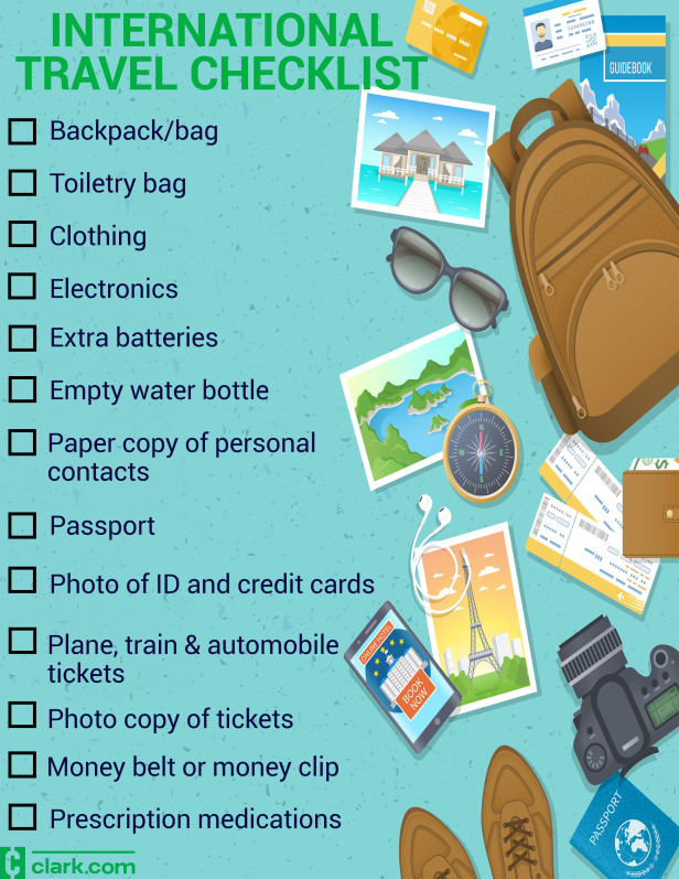 International Travel Checklist What To Pack For Your Trip Abroad Clark Howard