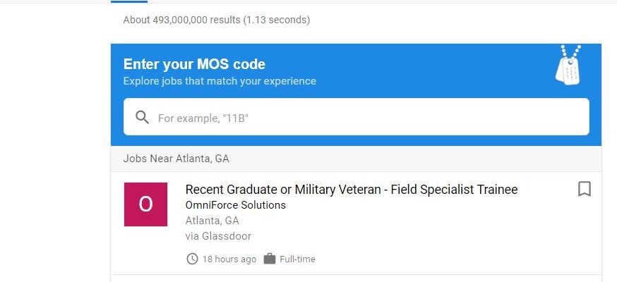 Google introduces 'jobs for veterans' feature
