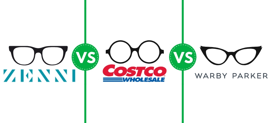 Costco Optical vs. Zenni Optical vs. Warby Parket eyeglasses comparison