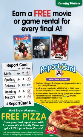 family video marco's pizza report card rewards
