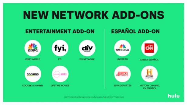 Hulu's new network add-ons