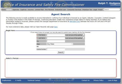insurance agent search tool georgia