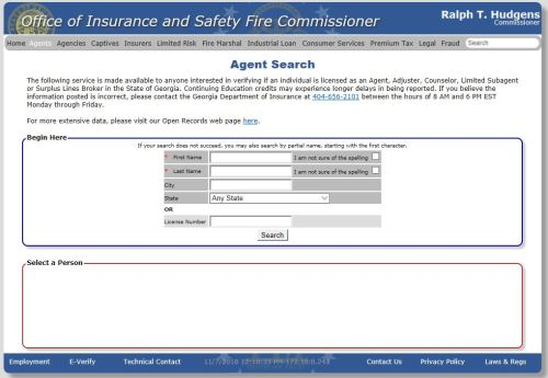 insurance agent search tool georgia