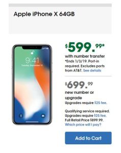 cricket wireless apple iphone x 64GB