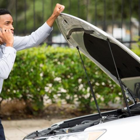 car break down with hood open