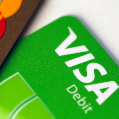 Visa debit card and MasterCard logos