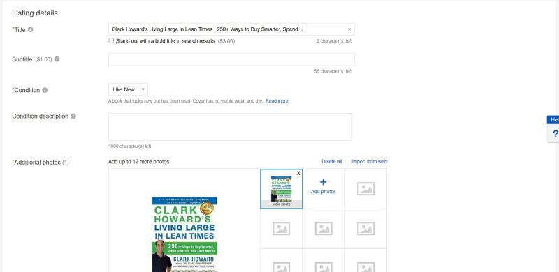 eBay auto-fills out your listing for you, including inserting the photo and title!