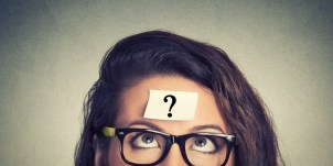 woman with question mark on head