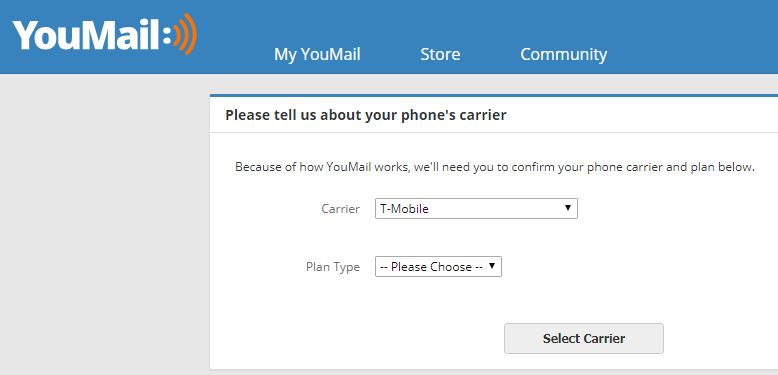 Youmail asks your phone carrier to sign up