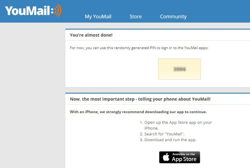 Youmail sign up page