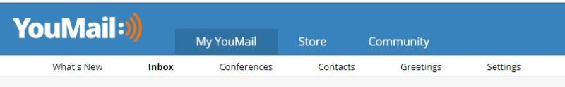 Youmail navigation menu on desktop